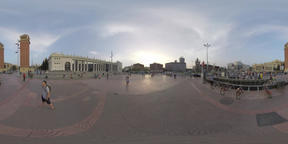 360 VR People and transport traffic on Plaza de Espana, Barcelona Footage