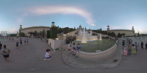 360 VR Sightseeing of Barcelona. National Palace and Four Columns with Magic Fou Footage