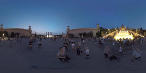 360 VR People at National Palace and Magic Fountain in night Barcelona Footage