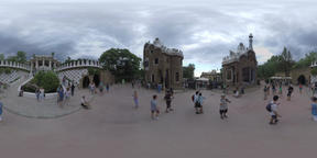 360 VR Visitors in Park Guell with gingerbread houses and Doric columns, Barcelo Footage