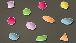 Different colored shapes shaking on brown background Animation