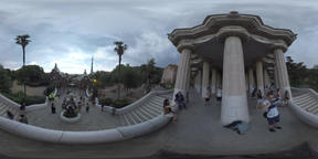 360 VR People visiting Park Guell in Barcelona Footage