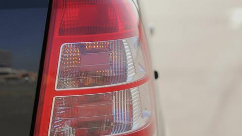 Car turning lights is on.flashing orange blinker light on... Stock Video Footage
