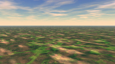Abstract landscape green bump ground Animation