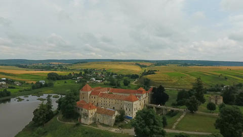 Aerial shooting of the old castle. Svirzh castle Footage
