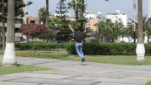Funny Man Running And Jumping Footage