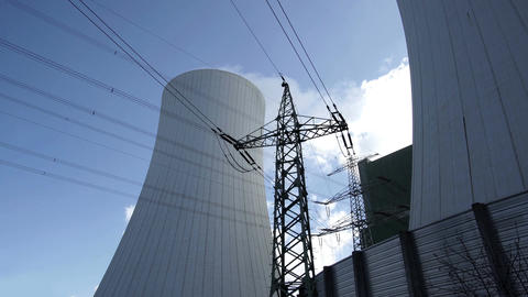 Industrial Cooling Towers With Electrical Pylon Timelapse Footage