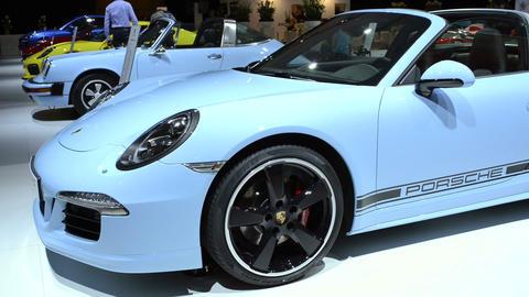 Porsche 911 Targa 4S sports car front view Live Action