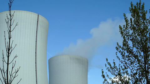Industrical Cooling Towers Framed With Trees Footage