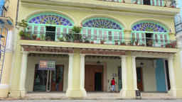 Old Havana, Cuba: tilt up on old colorful colonial architecture building- Old Pl Footage