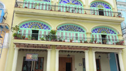 Old Havana,Cuba: Tilt down on colorful colonial architecture building. Old Plaza