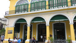 Old Havana,Cuba: 'Factoria Habana Vieja' building in Old Plaza-Zoom In Footage