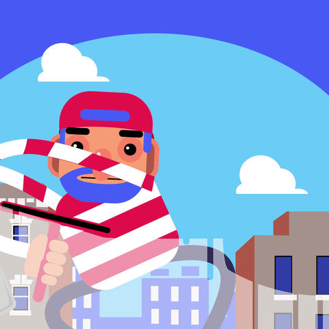 Window Cleaner with Hayfever loop Animation