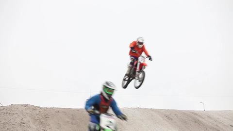 jumps flight on motorcycle Footage