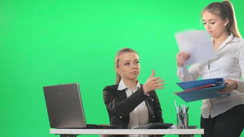 Secretary, and businesswoman discuss business, work, green screen, alpha Footage