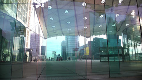 Modern architecture, beautiful glass entrance in business center, urban life Footage