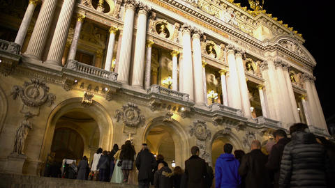 Opera National de Paris, visitors waiting for evening performance in long line Footage