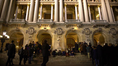 Visitors entering Opera National de Paris, waiting for evening performance Footage