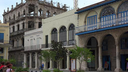 Zoom out from building exterior in Old Havana, Cuba Footage