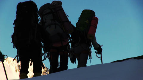 Climbers walk Footage