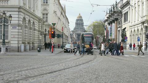 People walk in Brussels Footage