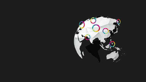 earth world rotating with rainbow wheel Animation