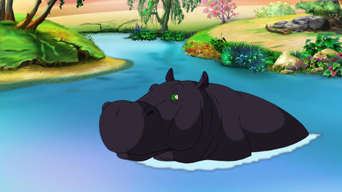 Black Big Hippopotamus Open his Mouth Animation