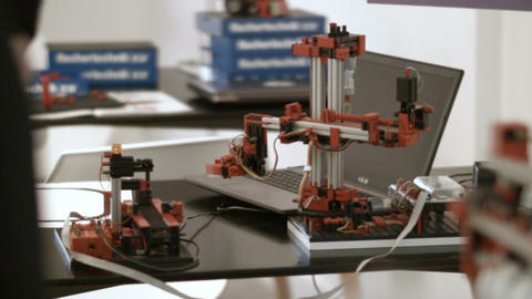 Modern Mechanical Toy Robot Operates and Turns Footage