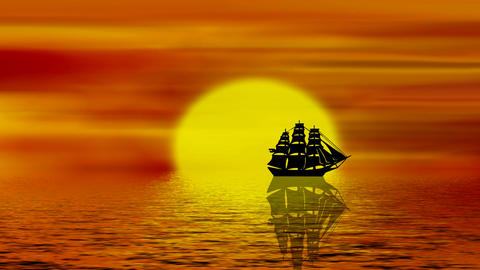 Sail On The Sea At Sunset Animation