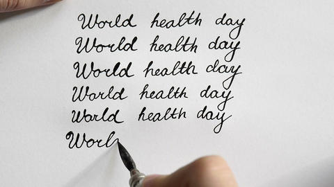 World health day calligraphy and lettering typographical design. Sixth line. Top Footage