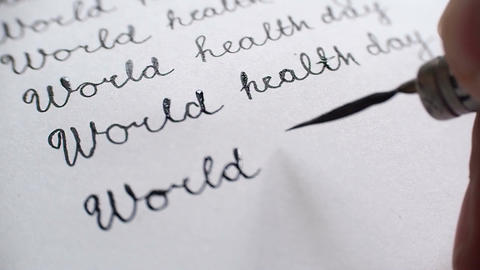 World health day calligraphy and lettering typographical design. Tenth line clos Footage
