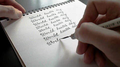World health day calligraphy and lettering typographical design. Eighth line Footage