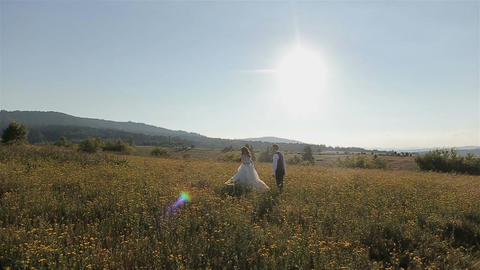 Charming wedding couple running on the field in the mountains Live Action