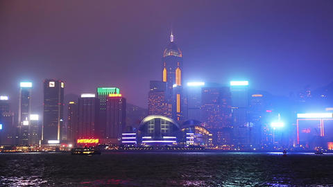 Night Quay of Hong Kong Footage