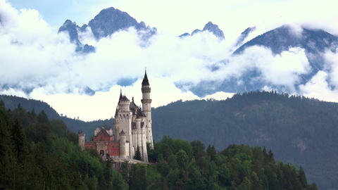 Neuschwanstein Castle and Clouds. Time Lapse Footage