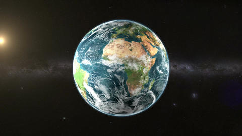 Earth in space with sun GIF