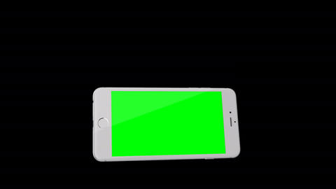 Smartphone turns on on black background. Easy customizable green screen. Compute Filmmaterial