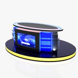 3d Virtual Tv Studio News Desk 12 3Dモデル