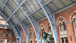 John Betjeman statue St Pancras International station London UK Footage