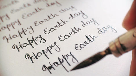Heappy earth day calligraphy and lattering typographical design. Ninth line. Clo Footage