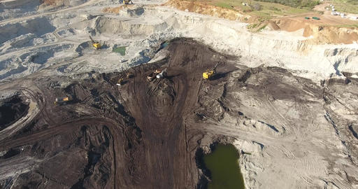 Aerial Coal Mining Pit and Working Mining Machines Footage