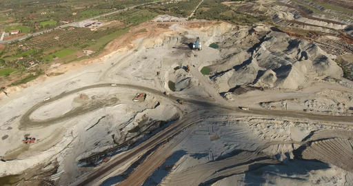 Dump Trucks Working at Mining Pit,Aerial Footage