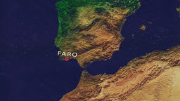 Faro - Portugal zoom in from space Animation