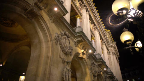 Beautiful molding on ancient illuminated building, European architecture Footage