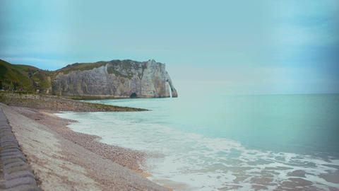 Coastline and cliffs of Etretat town, France, beautiful relaxing view on nature Footage