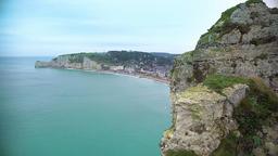 Etretat coastline from mountain top, beautiful landscape, famous touristic place Live Action