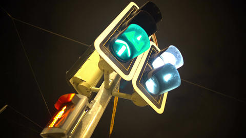 Traffic lights blinking with different colors, public transportation and rules Footage