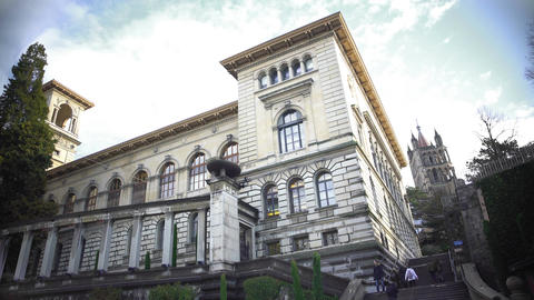 Students climbing the stairs of University Library, Palais de Rumine in Lausanne Footage