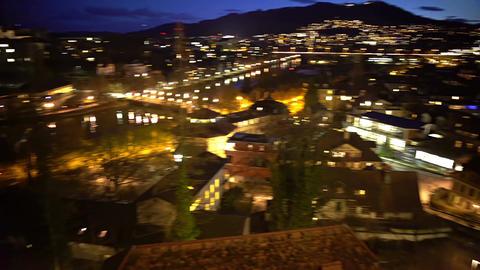 Evening panorama of Bern city in Switzerland, illuminated houses, enjoyable view Live Action