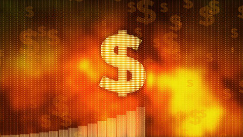 Dollar rising on red background, currency gains value, financial crisis averted Footage